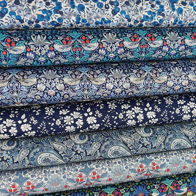 £4.25 • Buy Liberty Twilight Fabric Pack / Quilting Floral Wild Flower Strawberry Thief Blue