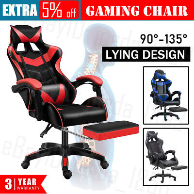 AU94.88 • Buy Gaming Chair Office Computer Seating Racing PU Executive Racer Recliner Footrest