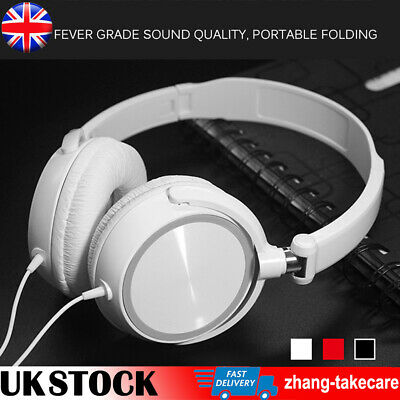 3.5mm Wired Bass HD Sound Stereo Headphones Headset Over Ear For Phone PC Laptop • 6.98£