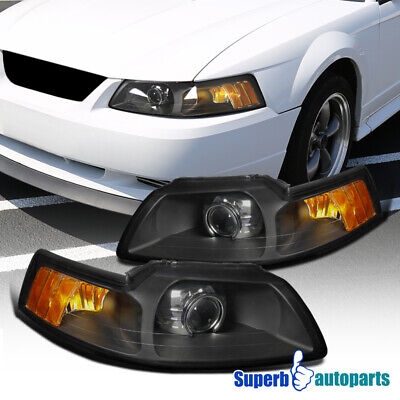 $130.98 • Buy For 1999-2004 Ford Mustang RetroFor Style Projector Headlights Black Lamps Pair