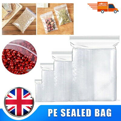 100 PCS Extra Large Grip Seal Zip Lock Polythene Resealable Clear Plastic Bags • 1.59£