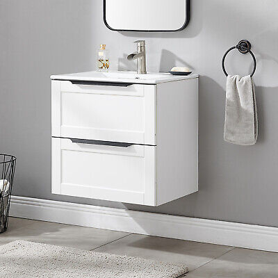 £189.99 • Buy Bathroom Vanity Unit Wash Basin Base Cabinet Two Drawers With Ceramic Sink White