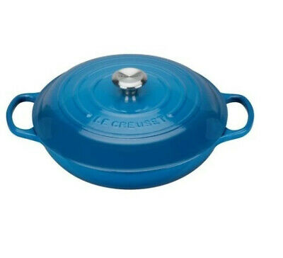 New Le Creuset Signature Cast Iron Shallow Casserole Marseille Blue - 26cm • 309.30£