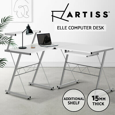 AU75.95 • Buy Artiss Computer Desk L-Shape Office Corner Table Metal Pull-Out Keyboard White