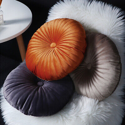 Velvet Round Cushion Seat Floor Cushion Pad Couch Pumpkin Pillow Home Decor UK • 7.28£