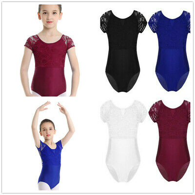 UK Kids Lace Floral Lace Short Sleeves Ballerina Ballet Dance Gymnastics Leotard • 9.66£