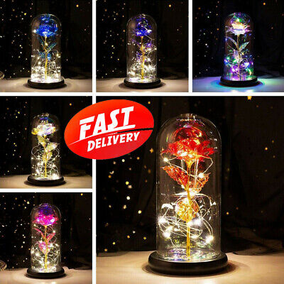 AU31.99 • Buy LED Light Enchanted Eternal Flower Rose In Glass Dome Valentine's Day Gift Decor