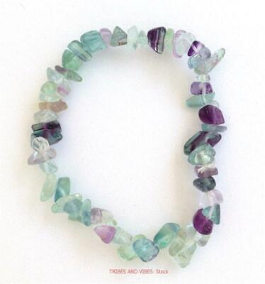 £3.85 • Buy Rainbow Fluorite Bracelet Crystal Chips Protective Healing Protection Organising