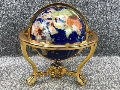 Lapis Fully Rotating Navy Blue Gemstone Globe On A Golden Stand With Compas. 13  • 199£