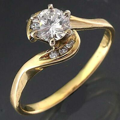 AU645 • Buy High Set Solid 18k Yellow GOLD DIAMOND SOLITAIRE 6 Diamond Accents RING Sz N1/2
