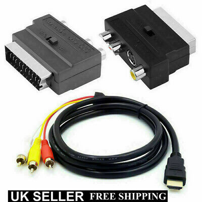 1080P HDMI S-video To 3 RCA AV Audio Cable W / SCART To 3RCA Phono Adapter  • 7.39£