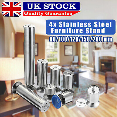 4X Cabinet Sofa Legs Adjustable Stainless Steel Feet Round Stand Kitchen • 8.99£