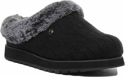 Skechers Bobs Keepsakes Sweater Knit Fabric Slipper In Black Size Uk 3 - 8 • 39.99£