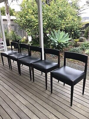AU420 • Buy 5x Black Mid Century Retro Dining Chairs