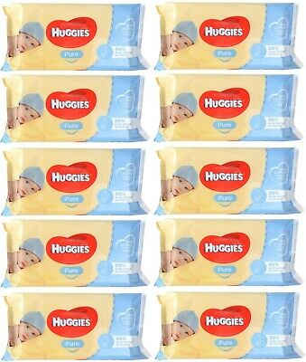 AU33.99 • Buy 10 X PK56 HUGGIES BABY WIPES PURE UNSCENTED STICKY TOP 100% Brand New