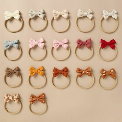 Hair Cotton Ribbed Bow Clip Headbands Headwear Bowknot Elastic Bands Accessories • 60.93£