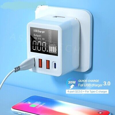 AU42.47 • Buy 4 Port Fast Charge QC3.0 USB Charger Wall Travel Mobile Phone Charger Adapter