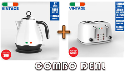AU140 • Buy Vintage Electric Kettle + Toaster Combo Deal Stainless Steel Not Delonghi White