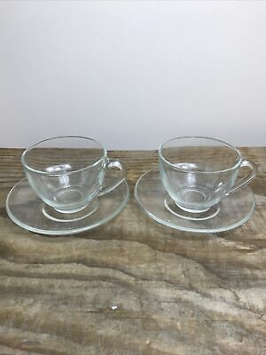 £12 • Buy Arcoroc France Pair Of Clear Glass Tea Coffee Cups And Saucers