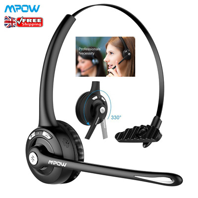 £20.49 • Buy Mpow Bluetooth Headset Noise Cancelling Mic Business Headphone For Call Center