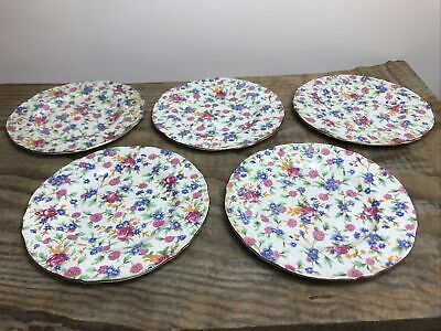 $ CDN112.27 • Buy Royal Winton Grimwades Old Cottage Chintz Pattern Set Of 5 Side Plates 17cm