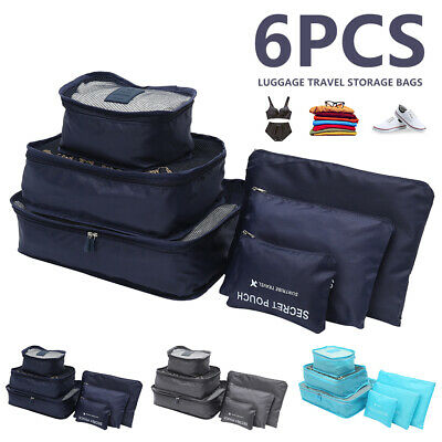 AU12.40 • Buy 6Pcs Packing Cubes Travel Pouch Luggage Organiser Clothes Suitcase Storage Bags