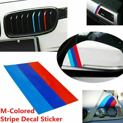 $6.99 • Buy 1X For BMW M-Colored Power Flag Stripe Sticker Decal Auto Car Hood Roof 10in