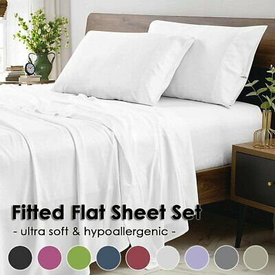 AU35.99 • Buy 1500TC Ultra SOFT Hotel Flat Fitted Bed Sheet Set Single/Double/Queen/King Size