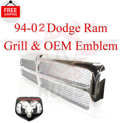 $165.19 • Buy For 94 02 DODGE RAM CHROME GRILL And OEM Emblem 1500 2500 3500 95 96 97 98 99 00