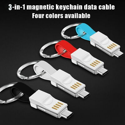 £2.59 • Buy 3In1 Key Chain USB Data Cord Key Ring Chargers Cabl For IPhone Android Type C XZ