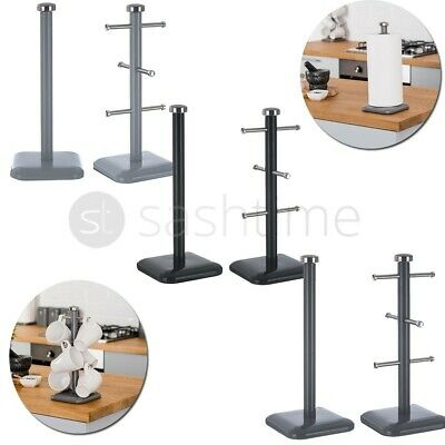£7.95 • Buy Stainless Steel 6 Cup Mug Tree Stand & Kitchen Towel Paper Roll Pole Holder Set