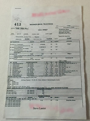 £6.78 • Buy ONE TREE HILL Set Used CALL SHEET Plus 11 Pages Of Sides ~ Season 4, Episode 12