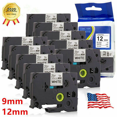 10x  Label Tape Replacement Brother Printer P-Touch Laminated Tze, Tz 12mm, 9mm • 19.99£