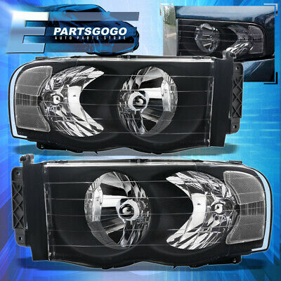 $76.99 • Buy For 02-05 Dodge Ram Pick Up Truck Black Housing Headlights W/ Clear Reflector