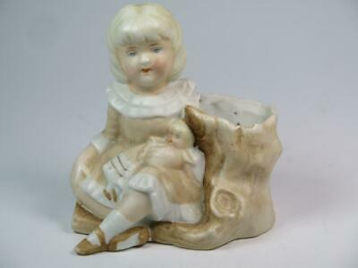 £11.99 • Buy ANTIQUE BISQUE SPILL VASE Young Girl With Doll And Tree Stump