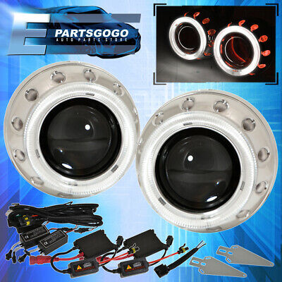 $83.99 • Buy For Nissan Red White Dual Demon Eyes Headlights Retrofit Projector Hid Kit
