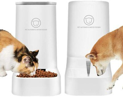 2PCS Automatic Pet Food Drink Dispenser Dog Cat Feeder Water Bowl Dish 3.8L • 16.89£