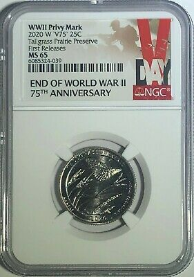 $ CDN54.41 • Buy 2020 W Kansas Tall Grass Preserve Ngc Ms65 First Releases V75 Privy Quarter Vlb