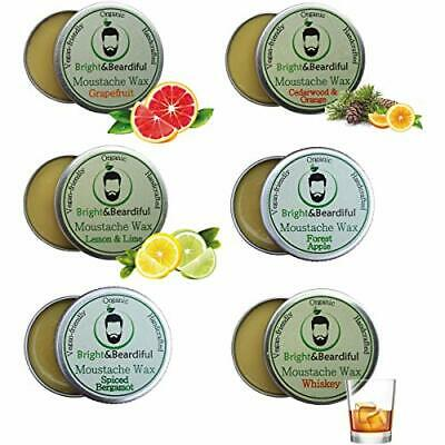 Moustache Wax (6 Pack) Strong Hold For Styling, Twists & Curls. Organic & • 25.43£