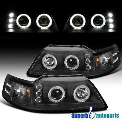 $101.63 • Buy For 1999-2004 Ford Mustang Dual Halo Projector Headlights Black Lamps Pair
