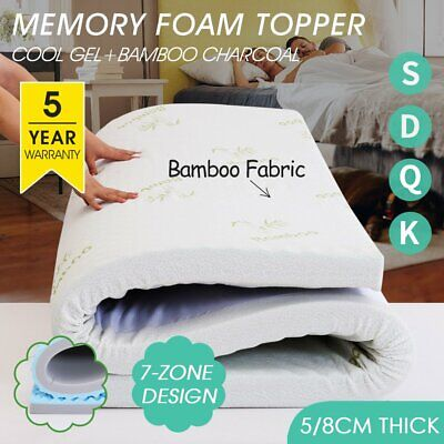 AU99.99 • Buy Dual Memory Foam Mattress Topper Queen 5/8CM Underlay Bamboo Cover Double King