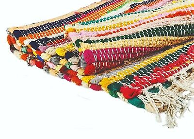 Recycled Cotton Floral Striped Mat Handmade Multi Coloured Chindi Floor Rag Rug  • 5.99£