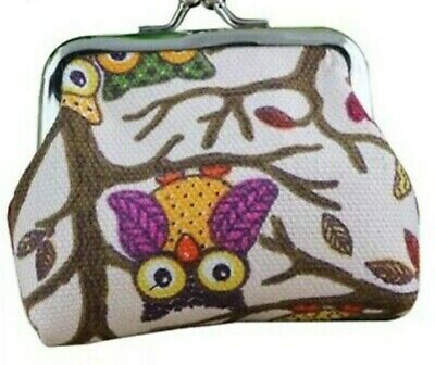 Pale Pink Owl Printed Coin Purse Wallet Clasp Canvas Money Bag Gift 10 X 7 Cm • 1.99£