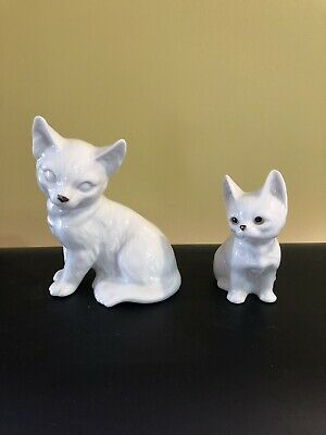 $ CDN15 • Buy 2 White Porcelain Cat Figurines One Made In Japan