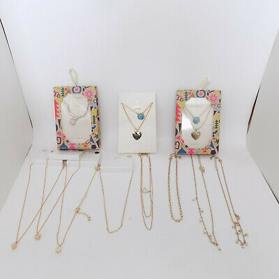 $ CDN15.04 • Buy Mixed Lot Of NEW Costume Jewelry Necklaces Forever 21 Gold Color Cubic Zirconia