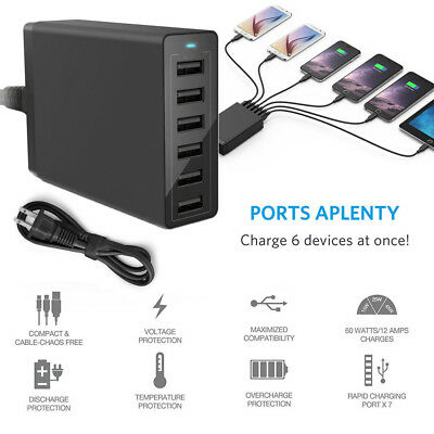 AU32.99 • Buy Portable 6 Port USB Charger 12A 60W Rapid Charging Station Desktop Travel Hub CA