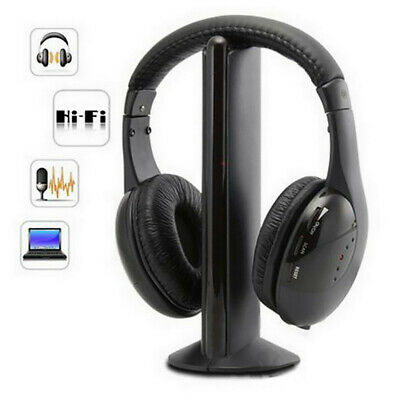 AU26.99 • Buy 5 In 1 Headset Wireless Headphones Cordless RF Mic For PC TV DVD CD MP3 MP4 CA