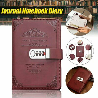 £11.49 • Buy Diary Lockable Notebook A5 Vintage PU Leather Note Book Journal Stationery Gift