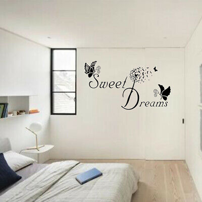 Wall Stickers Butterfly LOVE Quote DIY Bedroom Removable Decals SWEET DREAMS • 3.72£
