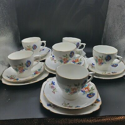 Vintage Set Of 6 Cups Saucers Side Plates Tea Cup Tea Set Trio Flowers Blue  • 49.99£